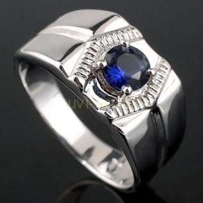 Позолоченное белым золотом мужское кольцо-печатка с искусственным сапфиром (арт. 260101)