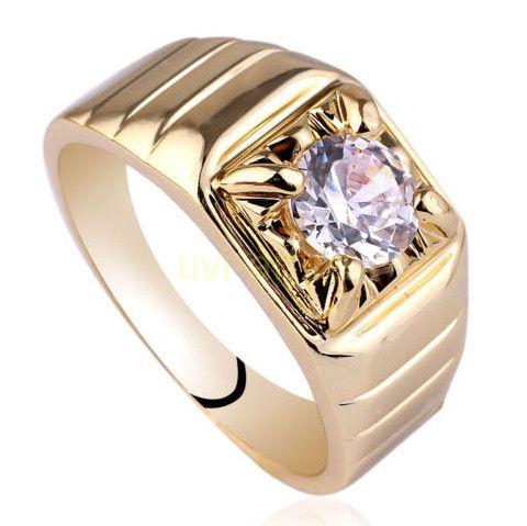 Позолоченное мужское кольцо с искусственным бриллиантом (арт. 261102)