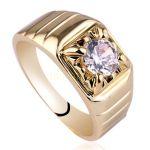 Позолоченное мужское кольцо с искусственным бриллиантом