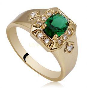 Позолоченное кольцо с искусственными изумрудом и бриллиантами (арт. 260107)