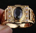 Позолоченный перстень с искусственными ониксом и бриллиантами (арт. 260108)