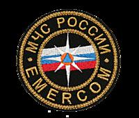 Эмблема МЧС России на головной убор. D 55 мм. Металлизированная нить