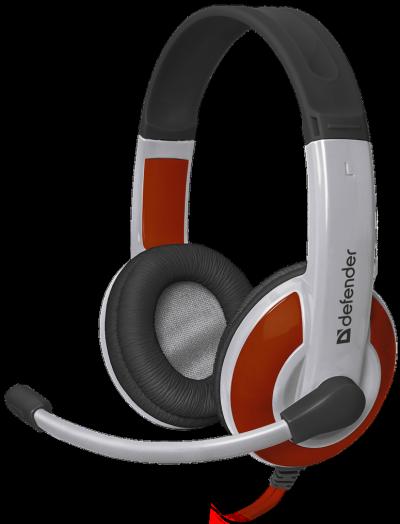 Мониторные наушники с микрофоном Игровая гарнитура Defender Warhead G-120 красный + белый, кабель 2 м