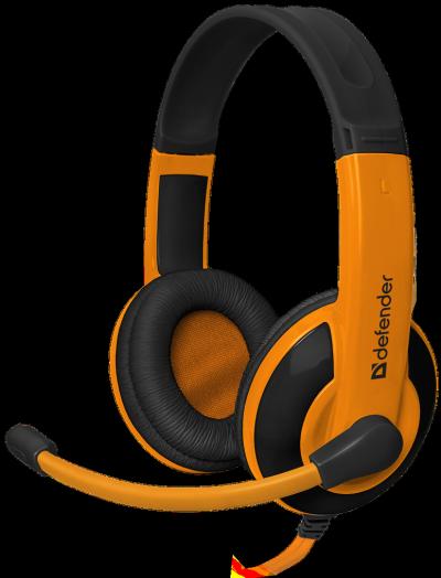 Мониторные наушники с микрофоном Игровая гарнитура Defender Warhead G-120 черный + оранжевый, кабель 2 м