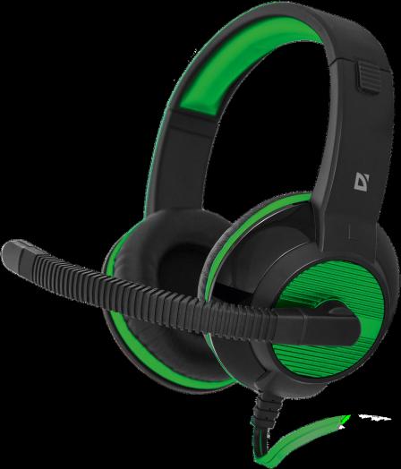 Мониторные наушники с микрофоном Игровая гарнитура Defender Warhead G-200 зеленый + черный, кабель 2 м