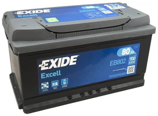 Автомобильный аккумулятор АКБ Exide (Эксайд) Excell EB802 80Ач о.п.