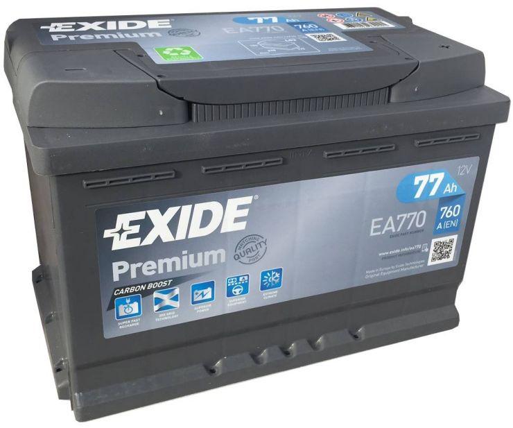 Автомобильный аккумулятор АКБ Exide (Эксайд) Premium EA770 77Ач о.п.