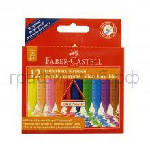 Мелки восковые 12цв.Faber-Castell GRIP стирающиеся 122520