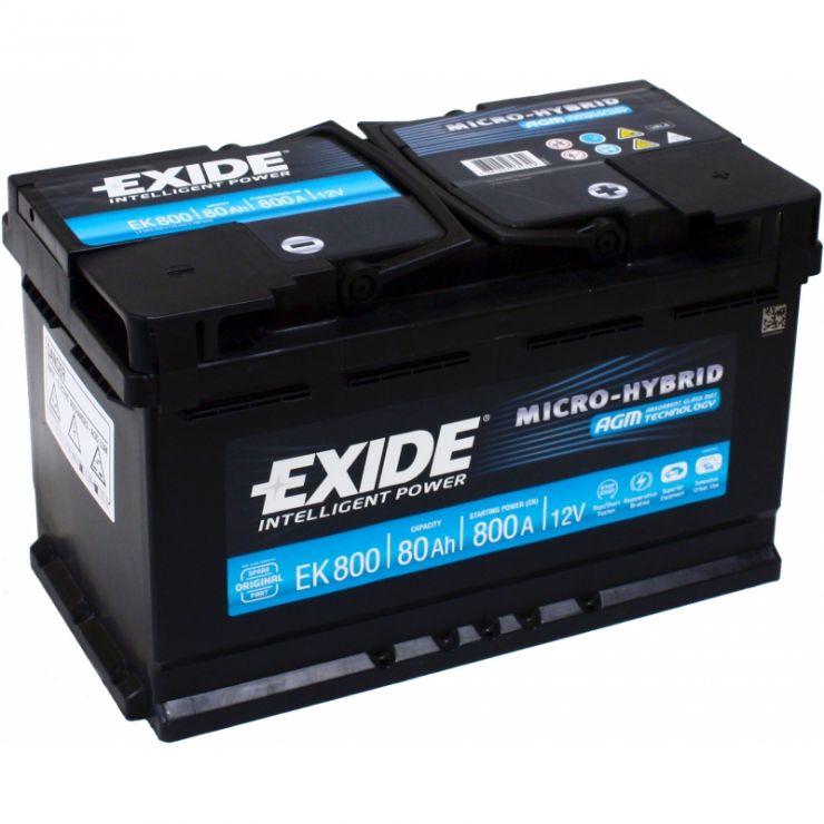 Автомобильный аккумулятор АКБ Exide (Эксайд) Start-Stop AGM EK800 80Ач о.п.