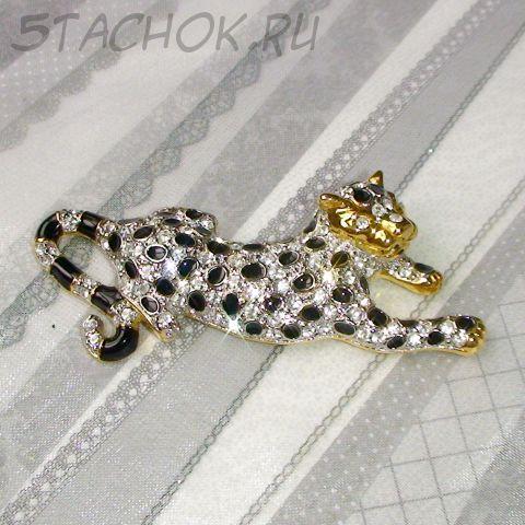 """Брошь """"Леопард"""" под золото, стразы, эмаль"""