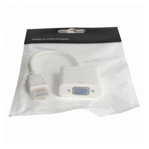 Переходник HDMI to VGA (белый в пакетике)