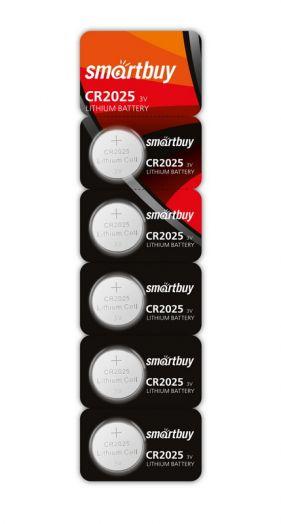Батарейка литиевый элемент питания (диск) Smartbuy CR2025/5B