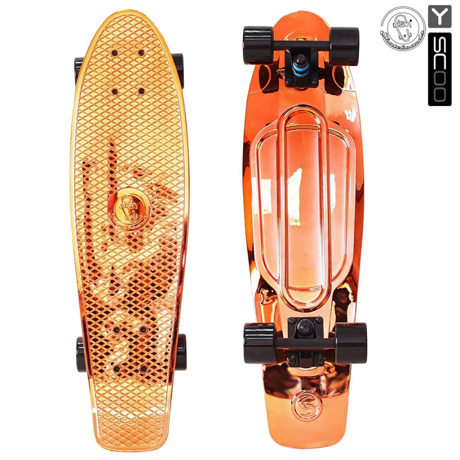 Скейтборд Y-SCOO Big Fishskateboard metallic 27″ винил с сумкой ORANGE/black