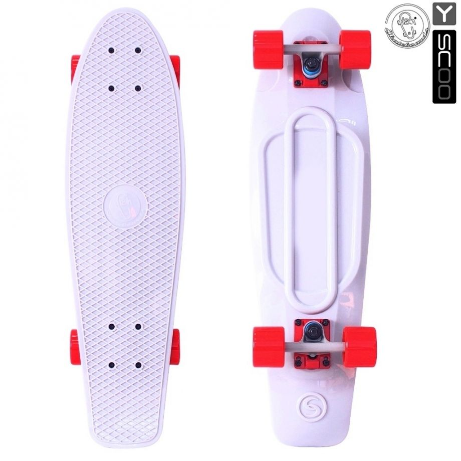 Скейтборд Y-SCOO Big Fishskateboard metallic 27″ винил с сумкой WHITE/red