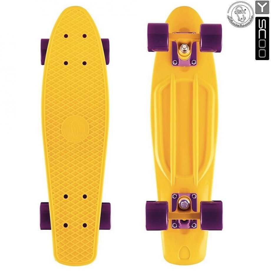 "Скейтборд Y-SCOO Fishskateboard 22"" винил с сумкой YELLOW/dark purple"