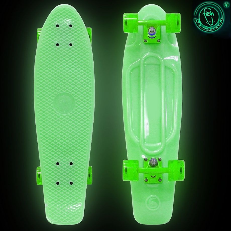 Скейтборд Y-SCOO Big Fishskateboard GLOW 27″ винил с сумкой GREEN/green