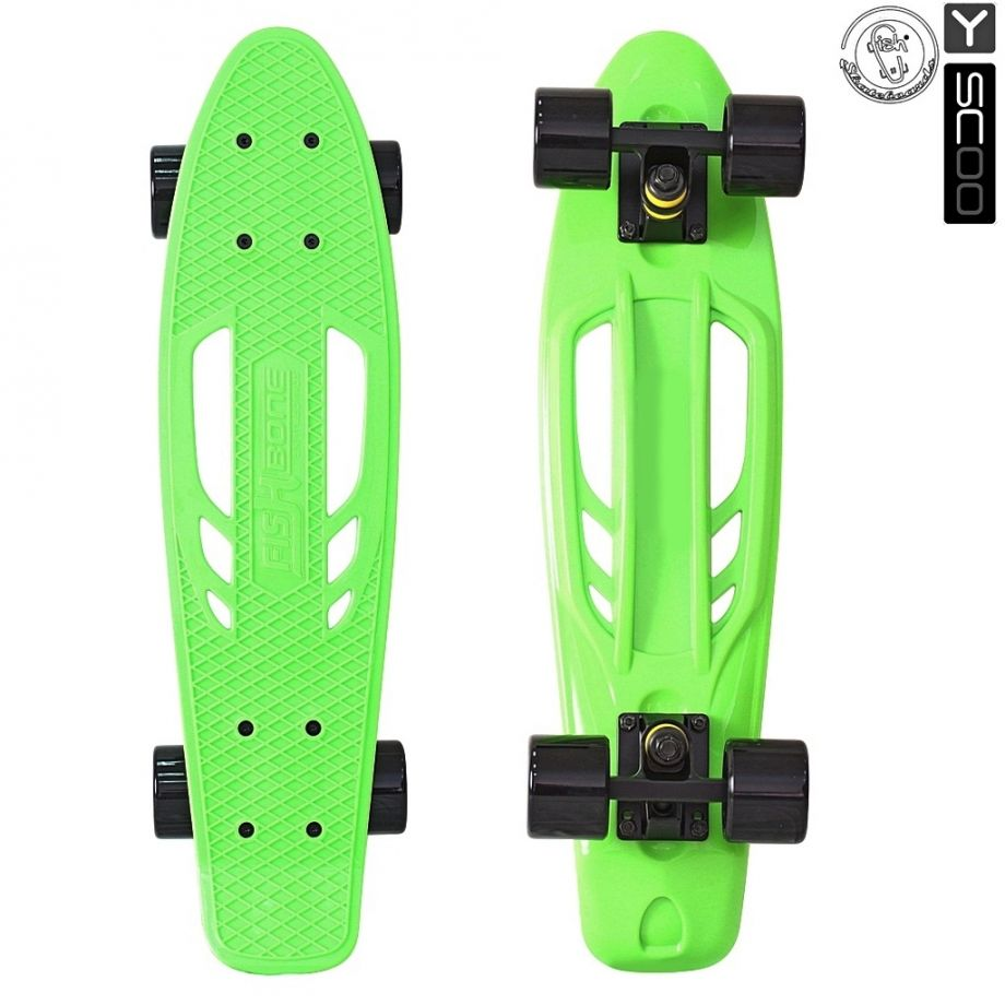 "Скейтборд Y-SCOO Skateboard Fishbone с ручкой 22"" с сумкой GREEN/black"