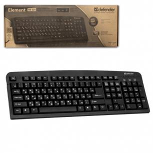 Клавиатура проводная DEFENDER Element HB-520, PS/2, 3доп.кнопки, черная, 45520