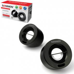 Колонки компьютерные SONNEN SP-С4, 2.0, 2*3W, пластик, черные, 511331