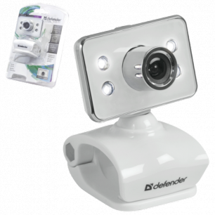 Веб-камера DEFENDER G-lens 321-I, 0.3Мп, микрофон, USB 2.0,подсветка, рег.креп., бел., 63321