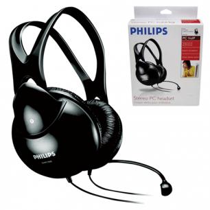 Гарнитура PHILIPS SHM1900/00,  проводная, 2м, стерео с оголовьем, регулятор громкости