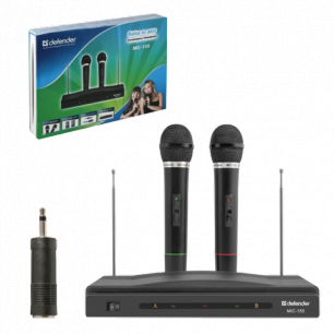 Микрофоны DEFENDER MIC-155 набор, беспроводные, радио 87-92 МГц, радиус действия 30 м, черные, 64155