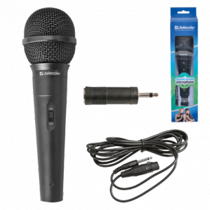 Микрофон DEFENDER MIC-130, проводной, кабель 5 м, черный, 64131