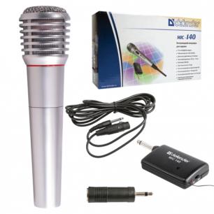 Микрофон DEFENDER MIC-140, беспроводной, радио 87-92 МГц, радиус действия 15 м, серый, 64140
