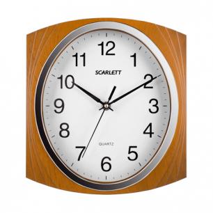 Часы настен. SCARLETT SC-55RB квадрат, белые, корич.рамка, плавный ход 27.3х24.9х4.3 см