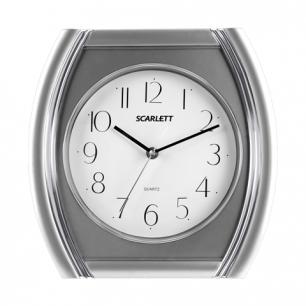 Часы настен. SCARLETT SC-55QU четырехугольн, белые, серебр.рамка, плавный ход, 28.6х28.6х4.0 см