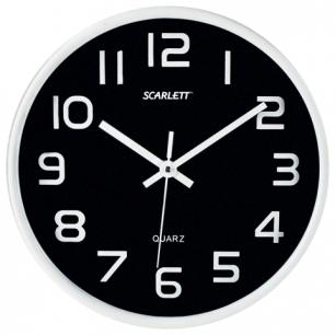 Часы настен. SCARLETT SC-WC1001O кругл, черные, серебрист.рамка, пластик, плавный ход 25,5х25,5х4,6см