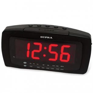 Часы-радиобудильник SUPRA SA-28FM, ЖК-дисплей, АМ/FM диапазон, черный/красн.