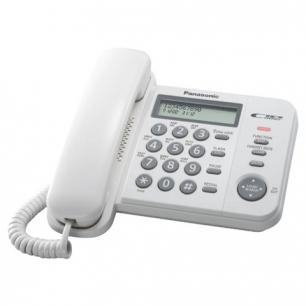 Телефон PANASONIC KX-TS2356RUW, белый, пам 50 ном, АОН, ЖК дисплей с часами, тон/имп режим