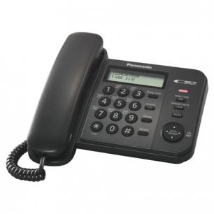 Телефон PANASONIC KX-TS2356RUB, черный, пам 50 ном, АОН, ЖК дисплей с часами, тон/имп режим