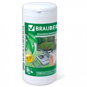 Чистящие салфетки BRAUBERG для LCD (ЖК) -мониторов, сухие и влажн. в тубе 50+50шт, 510121