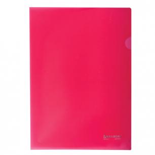 Папка-уголок жесткая BRAUBERG красная 0,15мм, 221640
