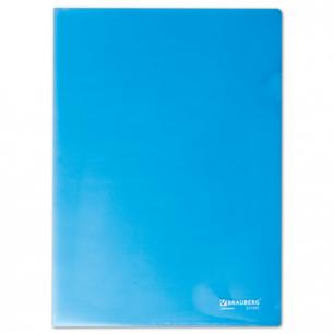 Папка-уголок жесткая BRAUBERG синяя 0,15мм, 221642