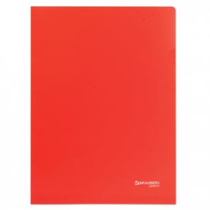 Папка-уголок жесткая, непрозрачная BRAUBERG, красная, 0,15мм, 224879
