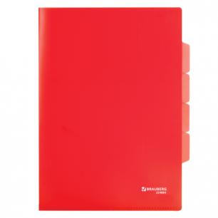 Папка-уголок 3 отделения, жесткая, BRAUBERG, красная, 0,15мм, 224884