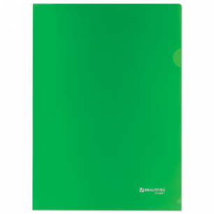 Папка-уголок жесткая, непрозрачная BRAUBERG, зеленая, 0,15мм, 224881