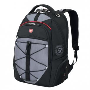 Рюкзак WENGER (Швейцария), универсальный, черно-серый, красные вставки, 34*19*46см, 30л, 6772204408