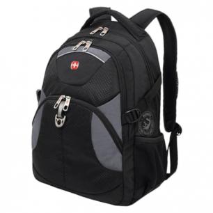Рюкзак WENGER (Швейцария), универсальный, черный, серые вставки, 34*17*47см, 26л, 3259204410