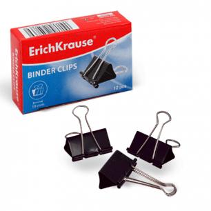Зажимы для бумаг ERICH KRAUSE, КОМПЛЕКТ 12шт., 19мм, на 60л., черные, в карт. коробке, 25086
