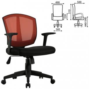 Кресло оператора BRABIX Diamond MG-301, с подлокотниками, комбинир. черное/оранжевое, 530866