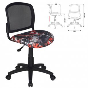 Кресло оператора CH-296NX/GRAFFITY без подлокотников, черное с рисунком, ш/к 62835