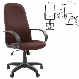 """Кресло офисное """"Фаворит"""", СН 279, высокая спинка, с подлокотниками, темно-коричневое B-17, ш/к33034"""