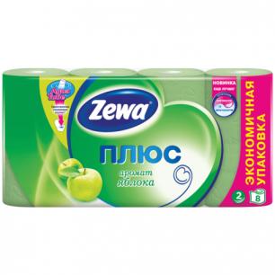 Бумага туалетная ZEWA Plus, 2-х слойная, спайка 8шт.х23м, аромат яблока, 144006, ш/к 46305