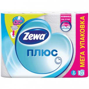 Бумага туалетная ZEWA Plus, 2-х слойная, спайка 12шт.х23м, белая, 144090, ш/к 08529