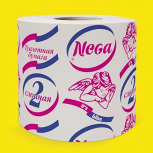 Бумага туалетная NEGA (Нега), 20м, на втулке, 2-х слойная, (100% целлюлоза!), ш/к 00199