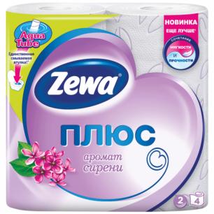 Бумага туалетная ZEWA Plus, 2-х слойная, спайка 4шт.х23м, аромат сирени, 144108, ш/к 67271